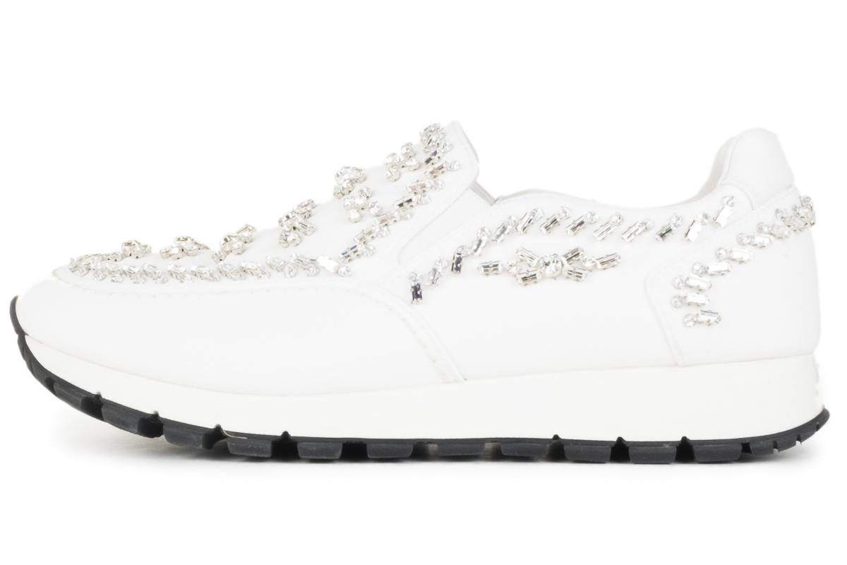030855bf108a Prada White Crystal Embellished Nylon Slip On Sneakers Sneakers Size Size  Size EU 37.5 (Approx. US 7.5) Regular (M