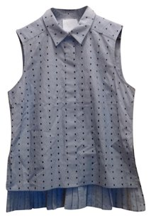 Prose & Poetry Poety Pleated Pleats Button Down Shirt Blue