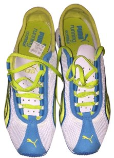 Puma White with Turquoise and Neon Yellow Athletic