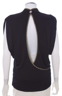 Rachel Roy Viscose Keyhole Batwing Short Sleeve Usa New York Rhinestone Top Black