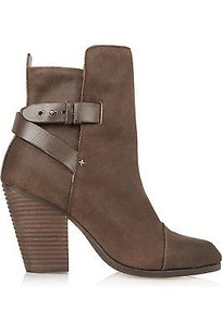 Rag & Bone And Kinsey Waxed Suede Leather High Heel Ankle Strap 388 Brown Boots