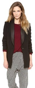 Rag & Bone Odessa Leather Trim Shawl Collar Long Tuxedo Black Jacket