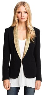 Rag & Bone Tuxedo Gold Metallic Shawl Collar Lapel Button Black Jacket