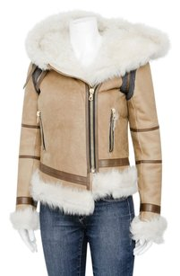Rag & Bone Shoreditch Ivory Suede Shearling Leather Hood Coat Brown Jacket