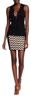 Rag & Bone Chevron Knit Mini Mini Skirt Black