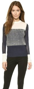 Rag & Bone Marissa Grey White Wool Knit Colorblock Stripe Shirt Sweater