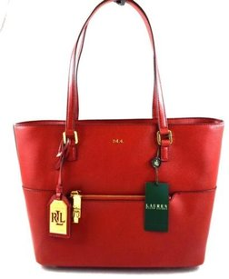 Ralph Lauren Leather Whitby Fall Tote in Red