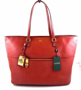 Ralph Lauren Leather Whitby Tote in Red