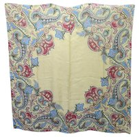 Ralph Lauren Black Label Ralph Lauren Black Label Silk Beige Multi-color Floral Scarf 35 X 36 -