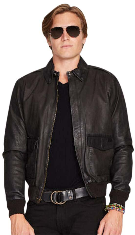 Ralph Lauren Farrington Bomber Aviator Mens Leather Jacket ...