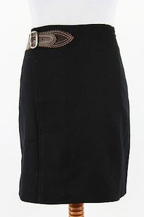 Ralph Lauren Blue Label C35ibhar Black Wrap Sarong Womens Skirt POLO BLACK