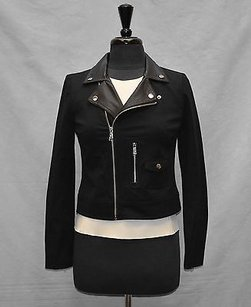 Ralph Lauren B4 Lauren Faux Leather Trim Lapel Moto Motorcycle Jacket