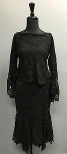 Ralph Lauren Ralph Lauren Black Cotton Blend Two Piece Lacey Top And Skirt Set Sm6600