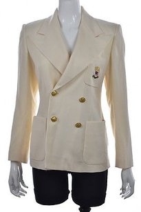 Ralph Lauren Ralph Ralph Lauren Womens Ivory Blazer Wool Long Sleeve Career Jacket