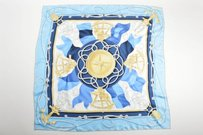 Ralph Lauren Ralph Lauren Blue Navy White Yellow Silk Compass Rope Anchor Nautical Scarf
