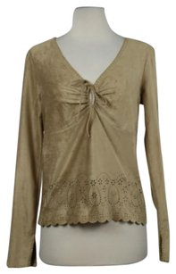 Ralph Lauren Ralph Womens Cut Out Long Sleeve Shirt Top Tan