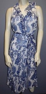 Ralph Lauren Lauren White Paisley Silk Wrap Sleeveless Hs2864 Dress