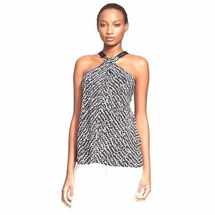 Ramy Brook Silk Lisa Print 220420dh Black/White Halter Top