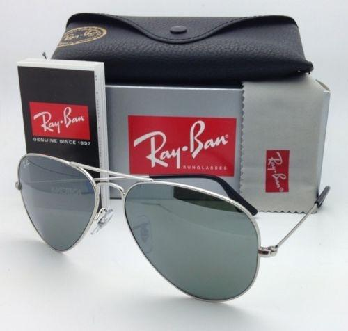 ray ban 3025 silver mirror  Ray-Ban New Sunglasses RB 3025 W3277 LARGE METAL Silver Aviator ...