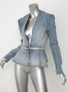 Rebecca Taylor Denim Jean Sold Out Peplum Cropped 2xs Blue Jacket
