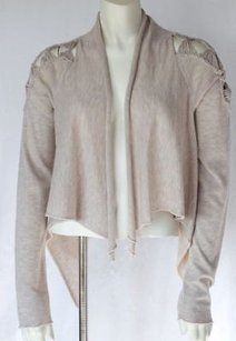 Rebecca Taylor Tan Wool Knit Heathered Open Front Cardigan Hs488 Sweater