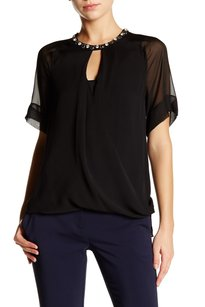 Rebecca Taylor Chic Embellished Silk Classic Night Out Top Black