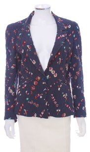 Rebecca Taylor Quilted Silk Longsleeve Floral Navy Blazer
