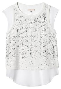 Rebecca Taylor Silk Studded Embellished Top White