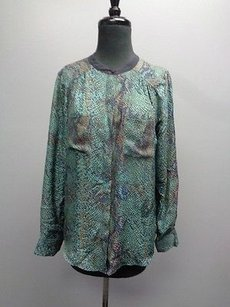 Rebecca Taylor Long Sleeved Button Down Sma8788 Top Blue Green