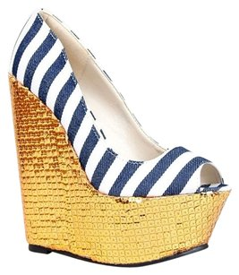 Red Kiss Blue Wedges