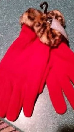 Other NWT - Red ladies gloves with faux fur trim - medium/large