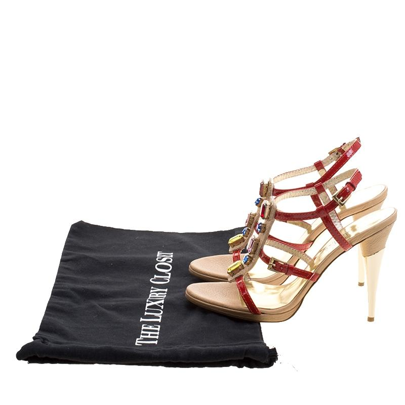 b2f1cfdc525 Man Woman:Red Patent Leather Crystal Embellished T Strap Sandals Size Size  Size EU. Christian Louboutin ...