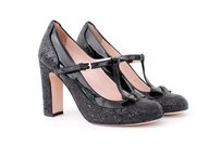 RED Valentino Black Mary Jane Patent Leather Glitter Chunky Heel 636 Multi-Color Pumps