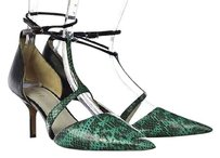 Reiss Womens Green Strappy 399 Heels Printed Leather Multi-Color Pumps