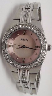 Relic Relic Ladies Watch Wcrystal Accents Round St Case Pink Dial Zr11912-r3