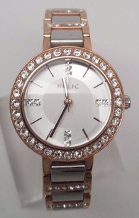 Relic Relic Zr34143 Womens Two Tone Rose Gold Crystal Accent White Dial