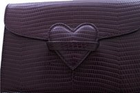 Rena Lange Envelope Croc Embossed Fold Over closure