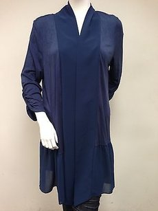Renuar Midnight Navy 34 Sleeve Ruched Long Cardigan Sweater