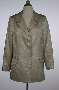 Rickie Freeman for Teri Jon Rickie Freeman Womens Beige Ivory Floral Blazer Long Sleeve Acetate Blend