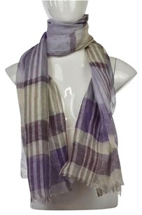Rivamonti Rivamonti Womens Purple Plaid Scarf One Linen Casual Fray Trim