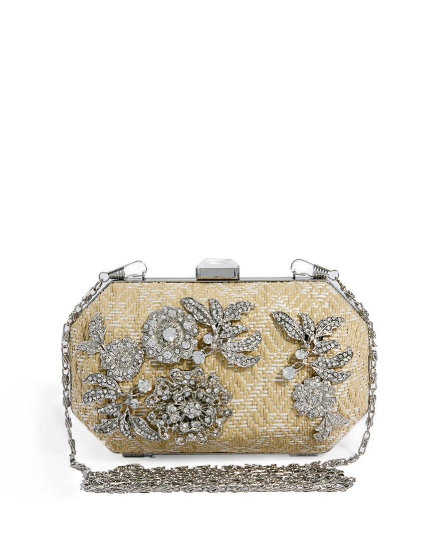 River Island Womenu0026#39;s Natural Floral Embellished Box Clutch Cross Body Bag On Sale 25% Off ...