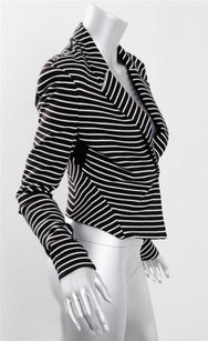 Robert Rodriguez Womens Striped Stretch Fitted Sweater Cardigan Black Jacket