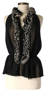 Robert Rodriguez Sheer Ruffle Top Black