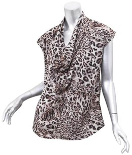 Robert Rodriguez Womens Graybeige Leopard Print Silk Cowl Neck Shirt Top Gray