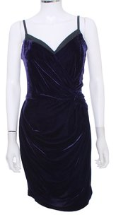 Robert Rodriguez Velvet Spaghetti Straps Sleeveless Leather Evening Holiday Cocktail Dress