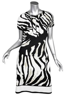 Roberto Cavalli short dress Multi-Color Womens Zebra Short Sleeve Knee Length Stretch Shift on Tradesy