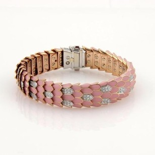 Roberto Coin Roberto Coin Cobra 2.01ct Diamonds Pink Enamel 18k Two Tone Gold Bracelet Box