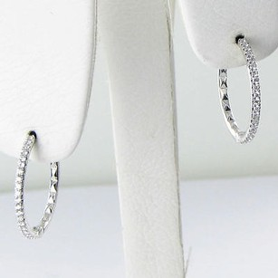 Roberto Coin Roberto Coin Earrings 20mm Hoops 0.22cts Diamonds 18k White Gold