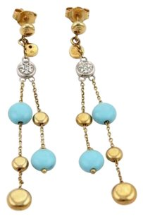 Roberto Coin Roberto Coin Diamonds Turquoise 18k Gold Double Drop Dangle Earrings