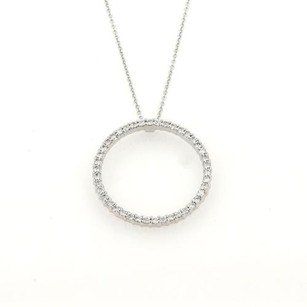 Roberto Coin Roberto Coin Tiny Treasures Diamonds 18k Wgold Circle Pendant Necklace Points